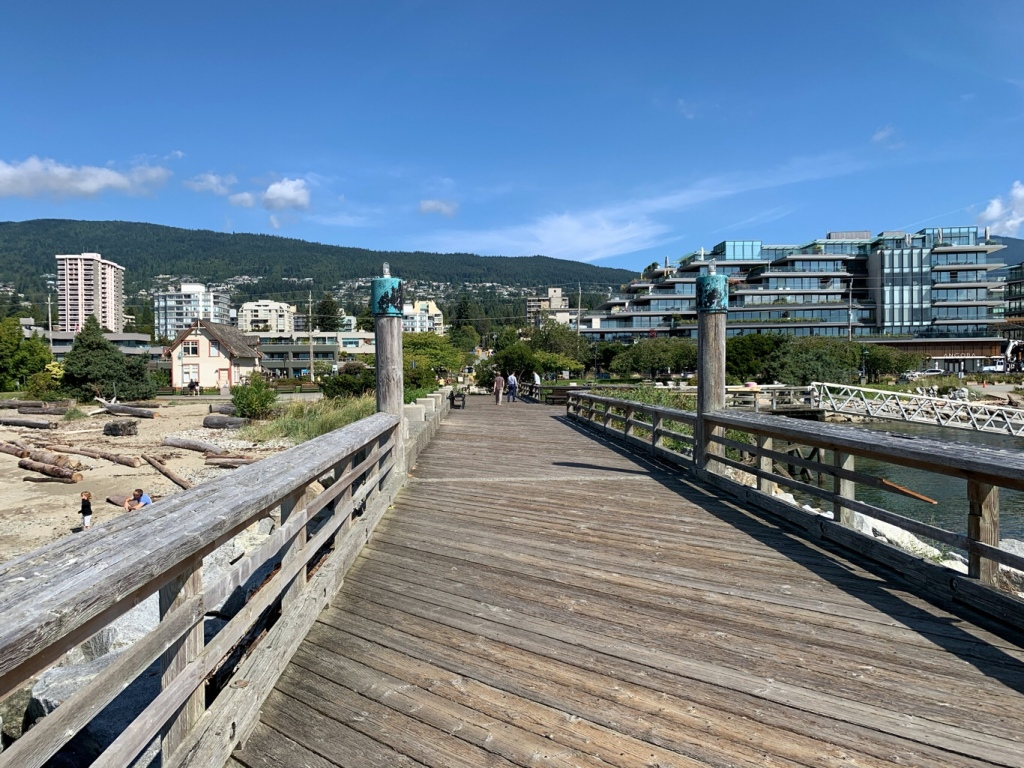 Ambleside Pier looking towards the city of West Vancouver